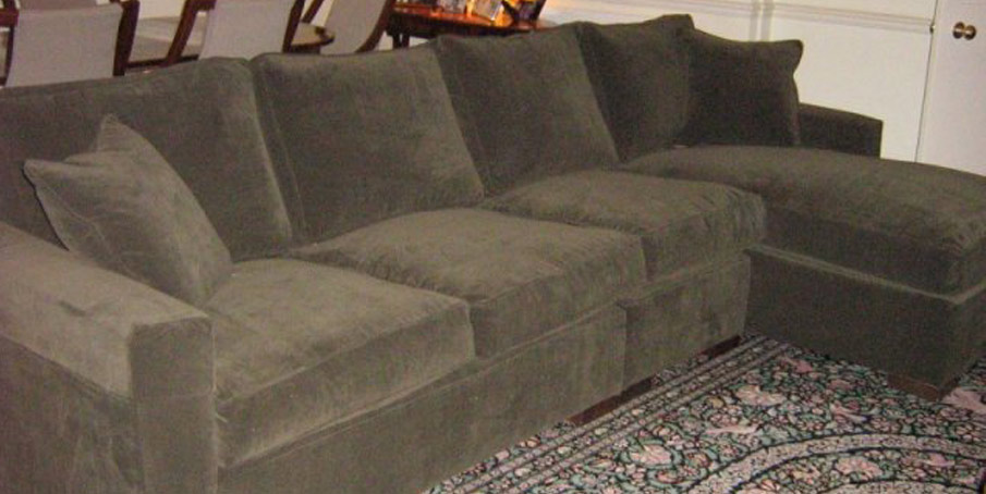Loose covers example green sofa